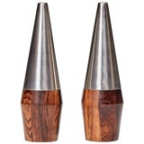 Image of Danish Rosewood and Stainless Steel Salt and Pepper Shaker Set - a Pair For Sale