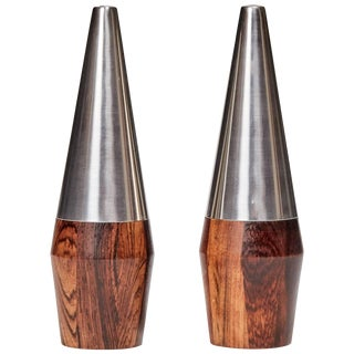 Danish Rosewood and Stainless Steel Salt and Pepper Shaker Set - a Pair For Sale