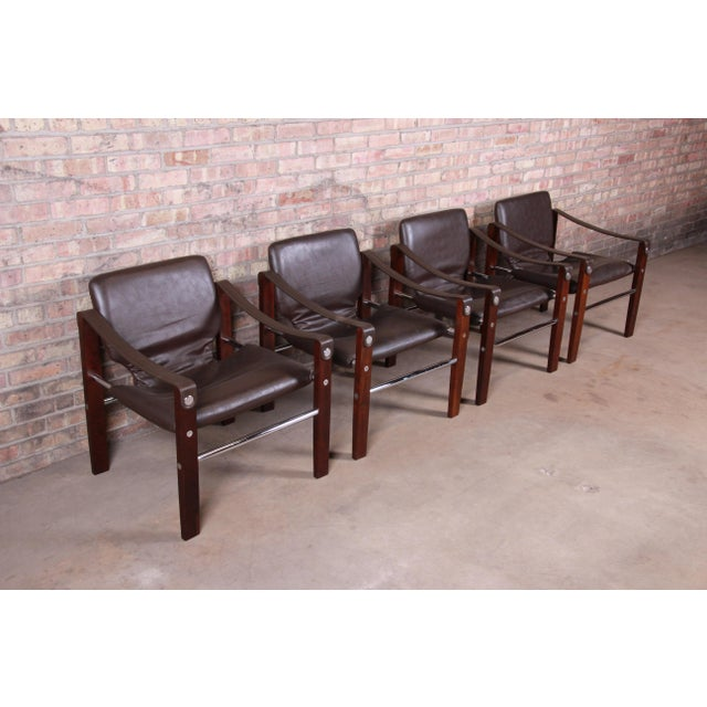 Maurice Burke for Pozza Mahogany and Leather Safari Chairs, Set of Four For Sale - Image 4 of 13