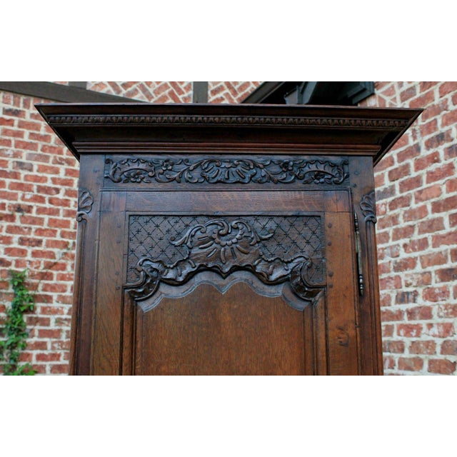 Antique French Country Oak 19th Century Liergues Bonnetiere Cabinet Armoire Wardrobe Bookcase For Sale - Image 4 of 13