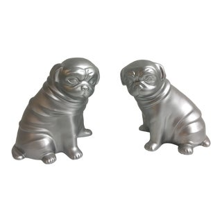 Contemporary Silver Pug Bookends - a Pair For Sale