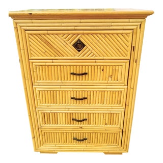 Vintage Gabriella Crespi Style Split Bamboo 5 Drawer Tall Chest of Drawers For Sale