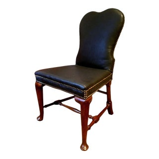 Antique Queen Anne Leather Side Chair For Sale