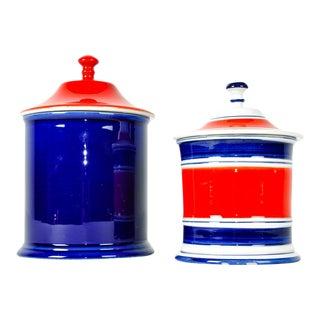 Italian Porcelain Condiment Jars - A Pair For Sale