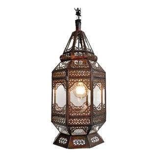 Moorish Tin & Clear Glass Lantern For Sale