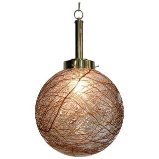 Italian 1970s Glass Globe Pendant Light For Sale