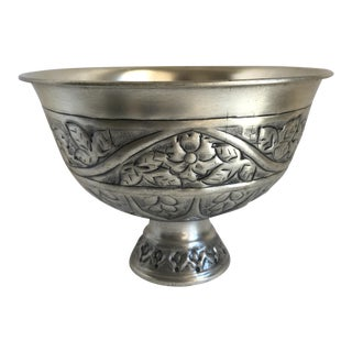 Etched Metal Pedestal Bowl For Sale