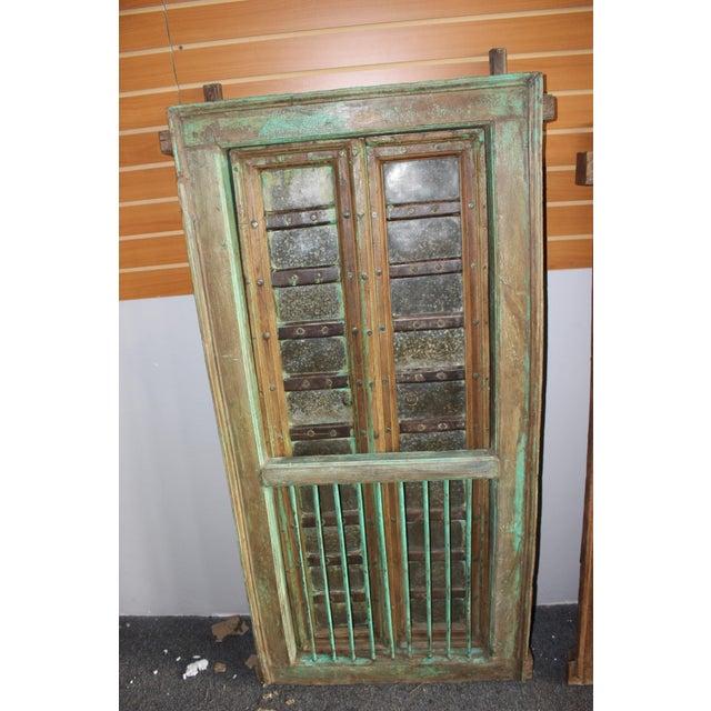 Vintage Indian Carved Teak Wood Green Solid Wooden Jharokha Window Door For Sale - Image 4 of 6