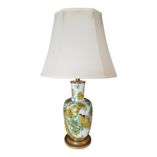 Mid Century Marbro Ceramic Torchiere Table Lamp With Optional Shade For Sale