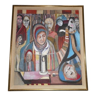 1960s Vintage Shivah - Holocaust Peter Malkin Painting - Outsider Art - Extremely Rare For Sale