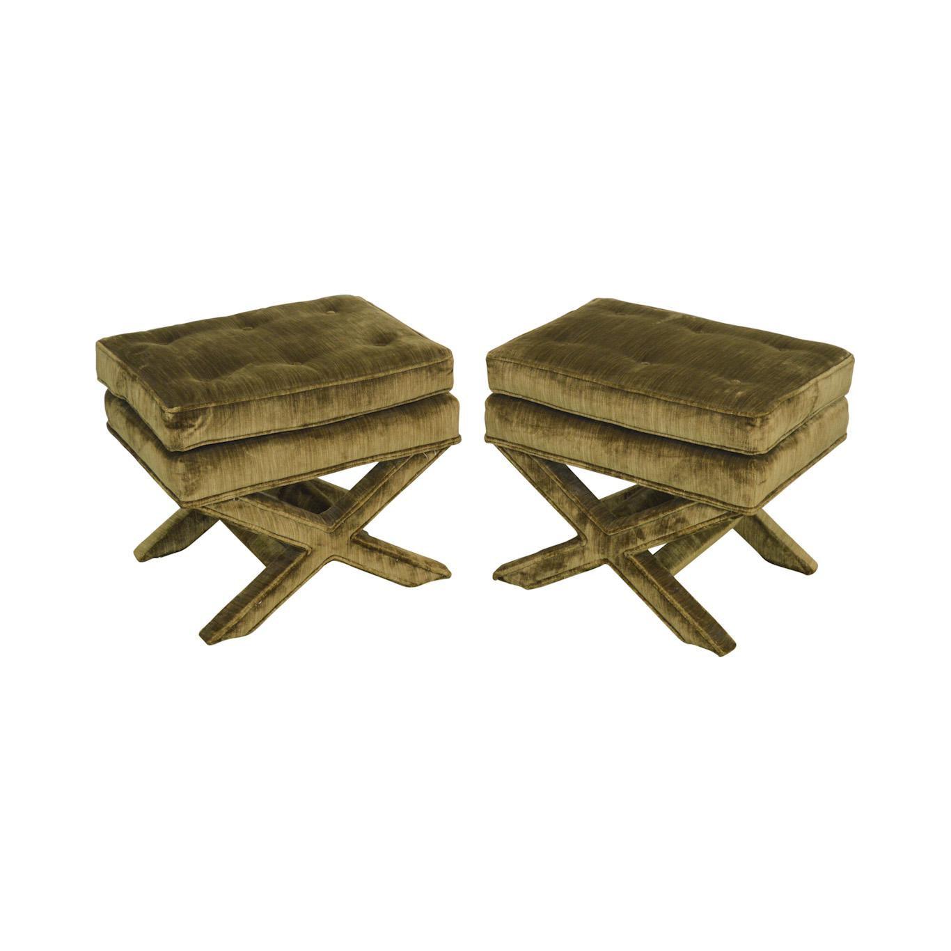Henredon n c Schoonbeck Billy Baldwin Style Vintage Pair of Upholstered X Benches