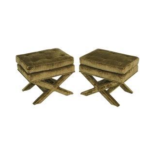 Henredon n.c. Schoonbeck Billy Baldwin Style Vintage Pair of Upholstered X Benches For Sale