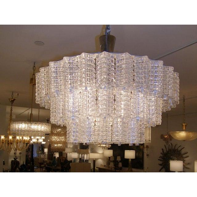 Modern Orrefors 3 Tiered Crystal Chandelier For Sale - Image 3 of 3