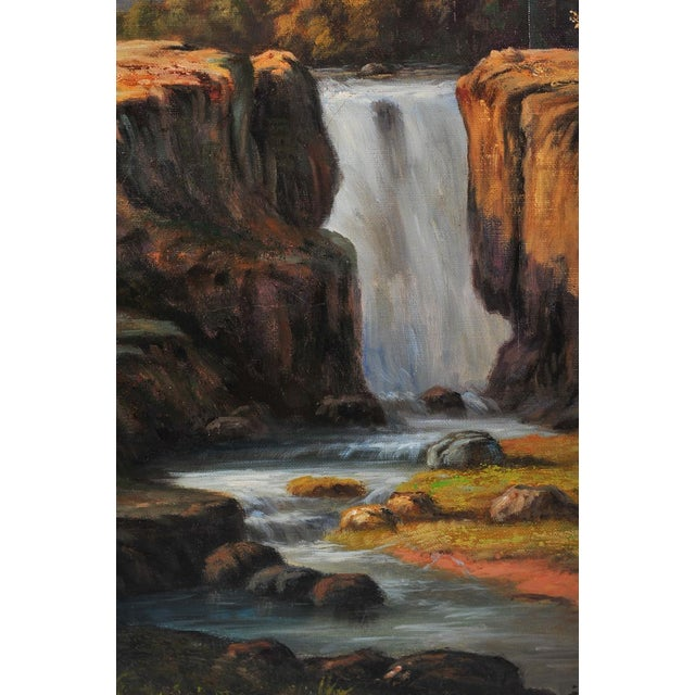 "19th C. Hudson River School ""Waterfall Landscape"" Oil Painting For Sale In Los Angeles - Image 6 of 9"