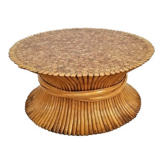 Vintage 1960s Rattan Wheat Sheaf Coffee Table by McGuire - Wicker Wood Mid Century Modern Palm Beach Boho Chic For Sale