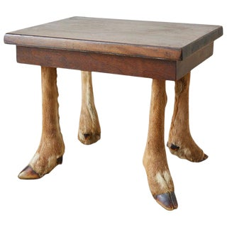 Rustic French Taxidermy Deer Leg Stool or Drinks Table For Sale