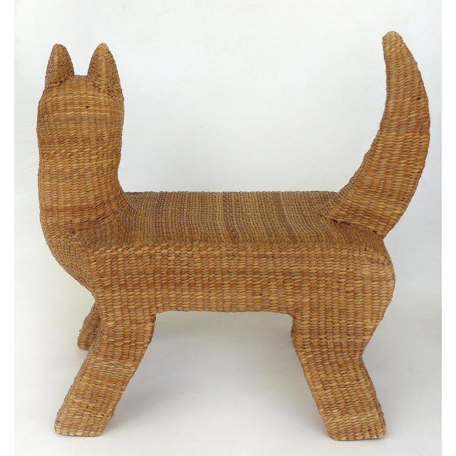 1970s 1970s Mexican Mario Lopez Torres Woven Reed & Copper Coyote Bench For Sale - Image 5 of 12