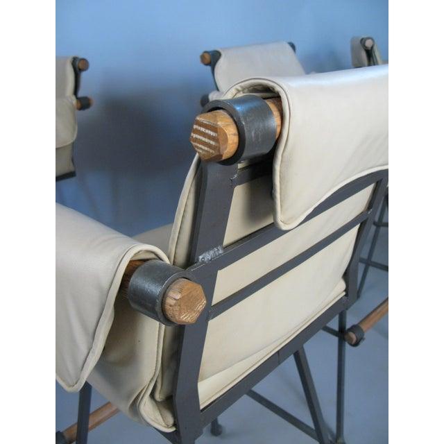 Metal Cleo Baldon Iron & Oak Swivel Barstools - Set of 4 For Sale - Image 7 of 10