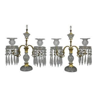 Pair of Regency Cut Glass and Gilt Bronze Candelabra