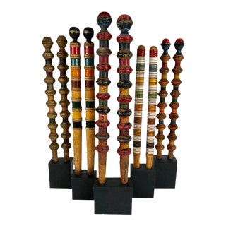 Antique and Vintage Colorful Croquet Posts in Custom Block Stands - Set of 10