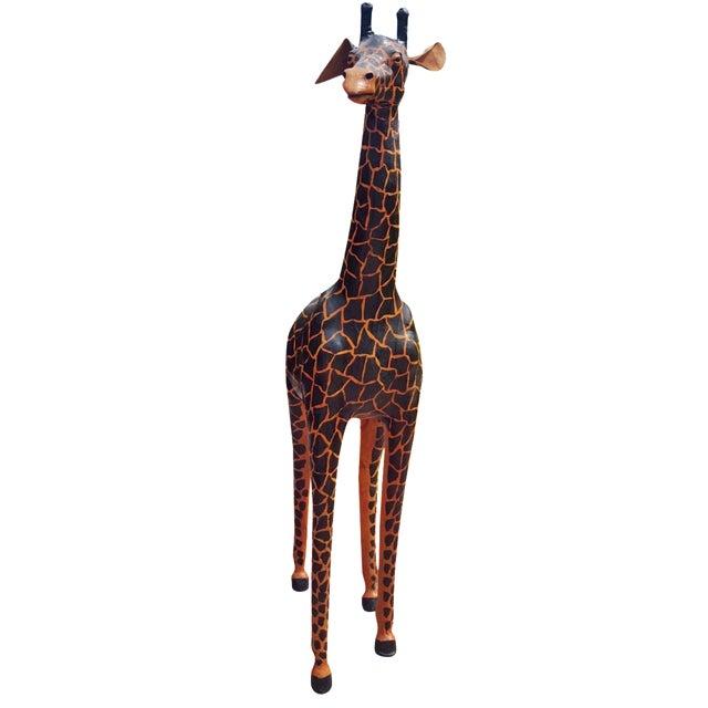 Handmade Leather Giraffe Figurine For Sale