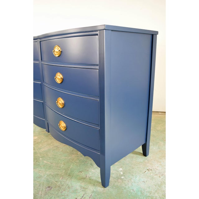 Bassett 19th Century Boho Chic Bassett Navy Blue Lacquer and Gold Dresser For Sale - Image 4 of 11