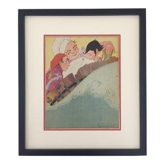 """1930s Framed """"Rub a Dub Dub"""" Nursery Rhyme Print by Fern Bisel Peat For Sale"""