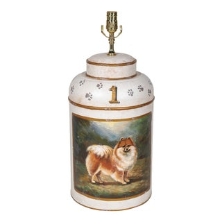 Vintage English Export Hand Painted Tea Caddy Lamp With Dog Landscape For Sale