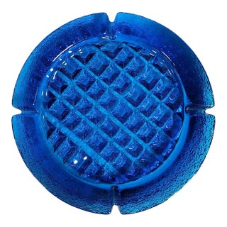 1960s Blenko Persian Blue Glass Waffle Ashtray For Sale