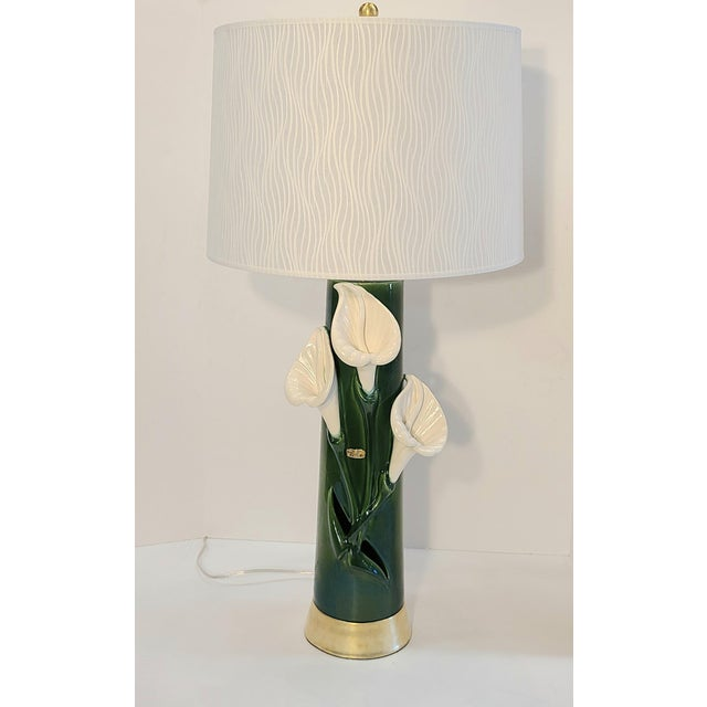 Peace Lily Ceramic Lamp With Shade by Haeger For Sale - Image 13 of 13