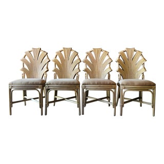 Vintage Pencil Reed, Palm Leaf Back Chairs - Set of 4 For Sale