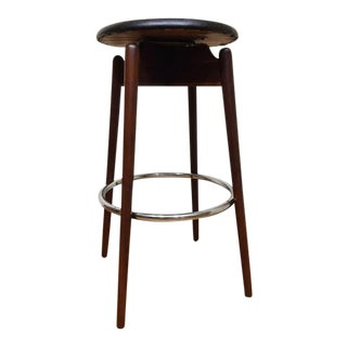 Mid Century Modern Walnut & Chrome Swivel Black Retro Bar Stool For Sale