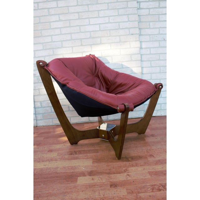 Mid Century Modern Odd Knutsen Luna Lounge Chair and Ottoman For Sale - Image 4 of 13