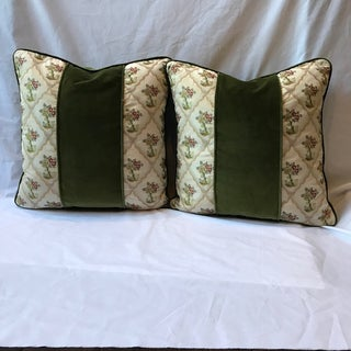 Silk Embroidered Velvet Down / Feather Pillows - A Pair Preview