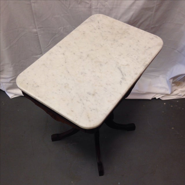 Antique Art Deco Table With Marble Top - Image 6 of 6