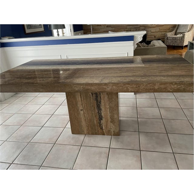 Contemporary Mid 20th Century Contemporary Natural Stone Dining Table For Sale - Image 3 of 10