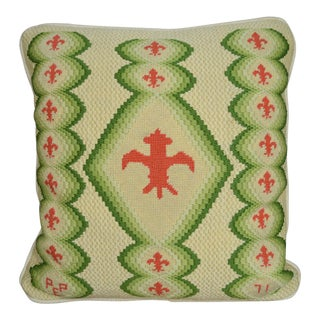 Vintage Fleur De Lis Needlepoint Throw Pillow For Sale