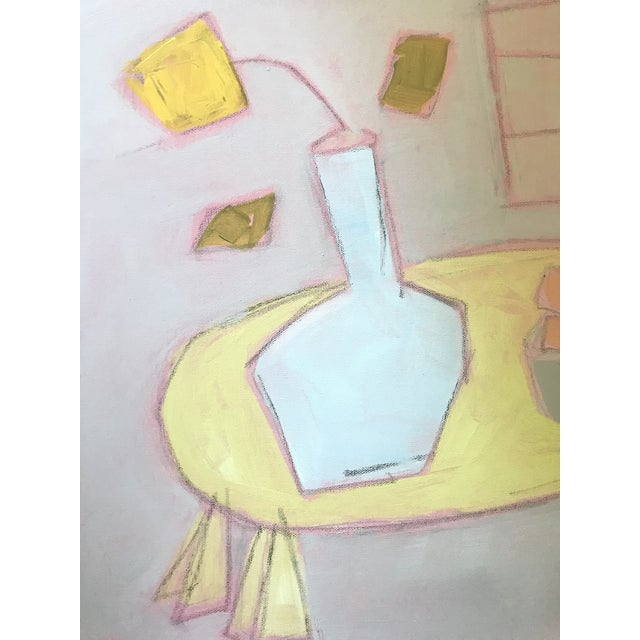 """2010s Sarah Trundle """"Turquoise Vase With Bowl"""" Contemporary Abstract Still Life Artwork For Sale - Image 5 of 8"""