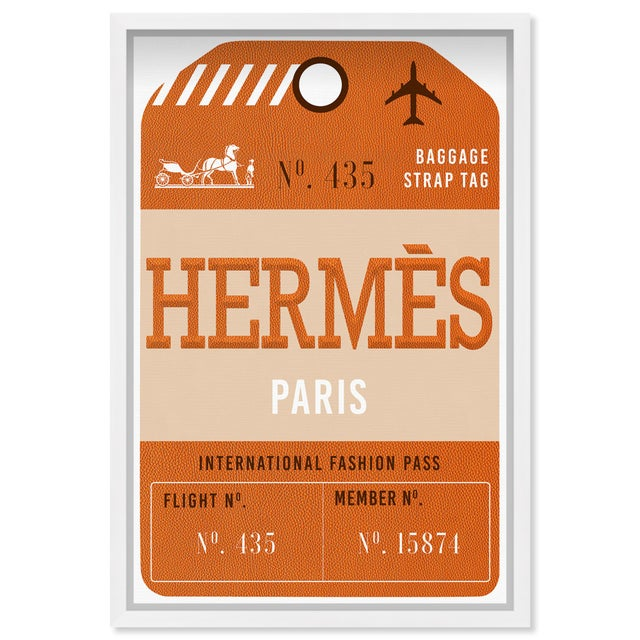 Printmaking Materials Oliver Gal 'Paris Fashion Luggage Tag' Framed Art For Sale - Image 7 of 7