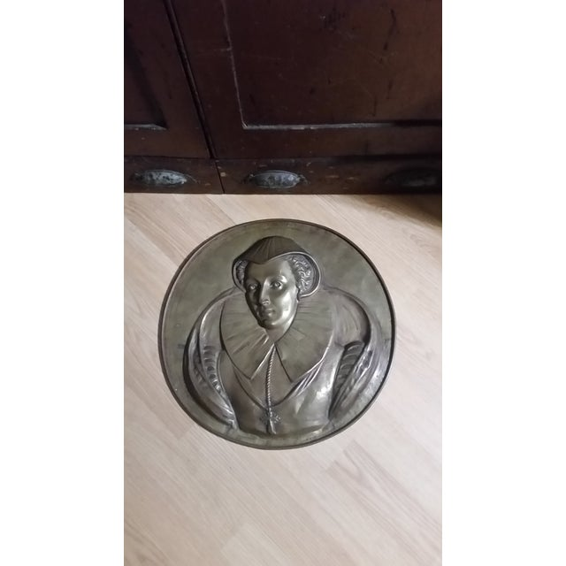 Bronze Vintage Mary Queen of Scots Bronze Decorative Hanging Plate For Sale - Image 8 of 8
