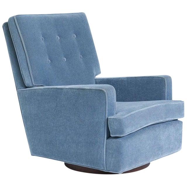 1970s Vintage Milo Baughman High Back Swivel Chair For Sale