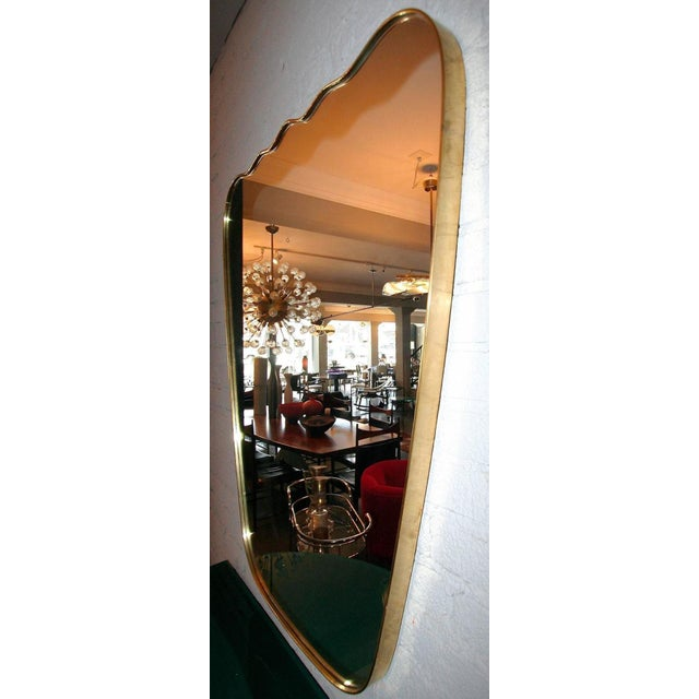 Mid 20th Century Italian Wavy Brass Mirror For Sale - Image 5 of 6