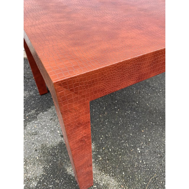 Wrapped Faux Crocodile Parsons Side Table For Sale - Image 9 of 13