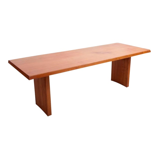 Rare Large Pierre Chapo T14D Dining Table in Elmwood, France, 1970s For Sale