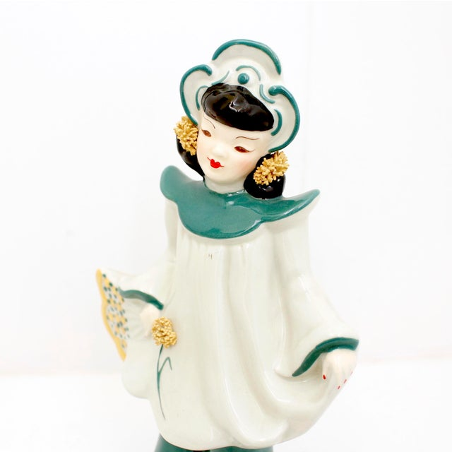 1950s Vintage Florence Ceramics Asian and & Woman Figurines - a Pair For Sale - Image 5 of 8