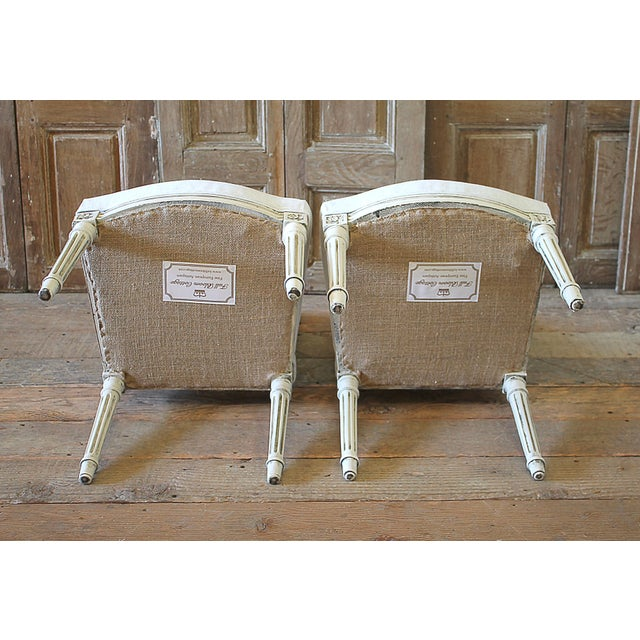 Early 20th Century Louis XVI Style Painted and Upholstered Childs Chairs - a Pair For Sale - Image 12 of 13