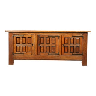 Mid-Century Mediterranean, Spanish Mission Style Oak Buffet/Console With Cast Iron Studs and Hardware For Sale
