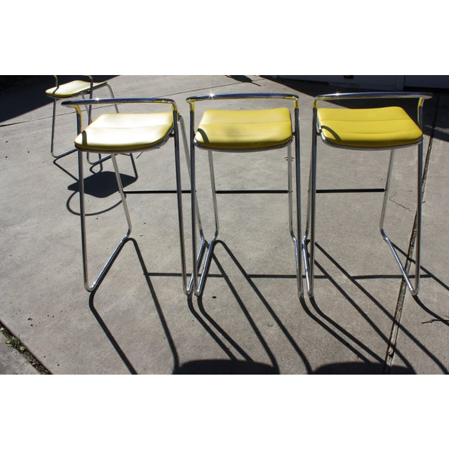 Italian Bar Stools in Polished Chrome by Hank Loewenstein - Set of 3 For Sale - Image 4 of 9