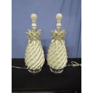 Ceramic Pineapple Lamps with White Glaze and Drum Shades - a Pair Preview