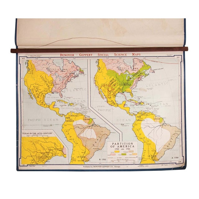 Vintage Partition of America Map For Sale